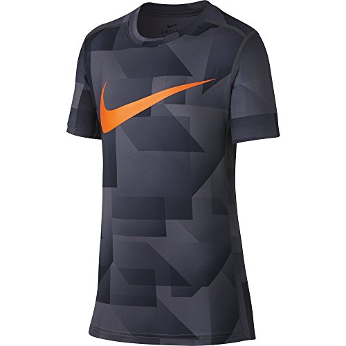 NIKE Boys Short Sleeve All Over Print Training Top, Light Carbon, Medium