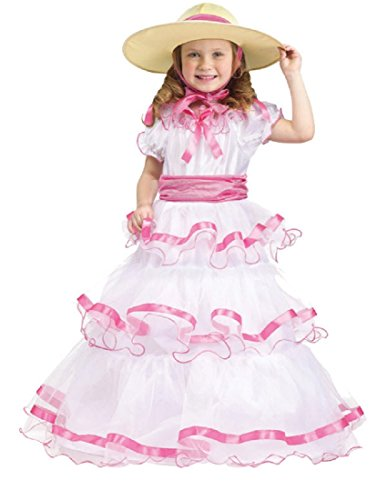 [Fun World Costumes Baby Girl's Sweet Southern Bell Toddler Costume, Pink/White, Large(3T/4T)] (Southern Belle Child Halloween Costume)