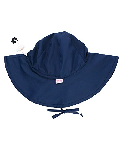RuffleButts Baby/Toddler Girls Navy Sun Protective Hat - 0-6m