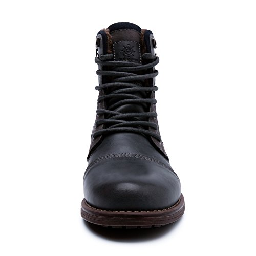 GLOBALWIN Mens Fashion Lace Up Cap Toe Winter Ankle Combat Boots