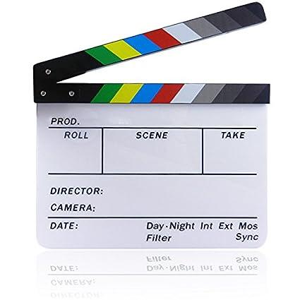 Gosear 11.7 x 9.8 Pulgadas Pizarra Acrílica Director Película Corte Tablilla Claqueta Board Pizarra con Banda Magnética,Colorido