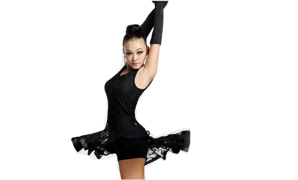 Latin Dance Dress New Style Sleeveless Dance Practice Costume Adult Performance Clothes Square Dance Wear Black XL by Motony