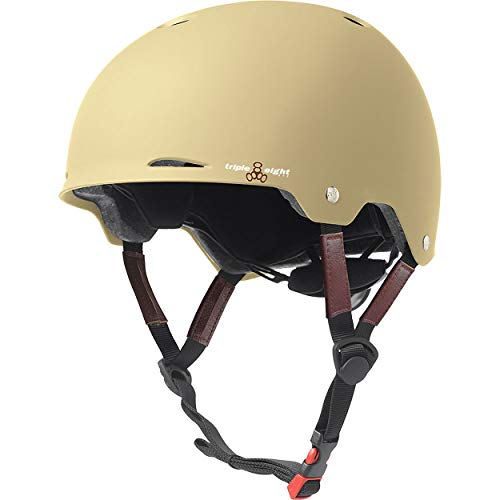 Triple Eight Gotham Dual Certified Skateboard and Bike Helmet, Cream Matte, Small / Medium