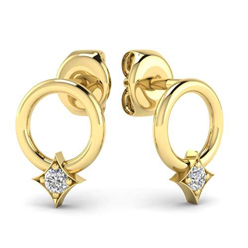 Diamond Circle Hoop Earrings - Minimalist Geometric Circle Earring Studs in Solid 14K Yellow Gold, Real Diamonds, Butterfly Push Back -