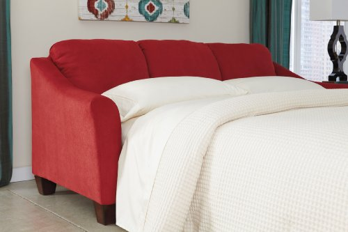 Ashley Furniture Signature Design - Hannin Sleeper Sofa - Queen - 3 Seat Contemporary Couch with Sofa Bed - Red Spice