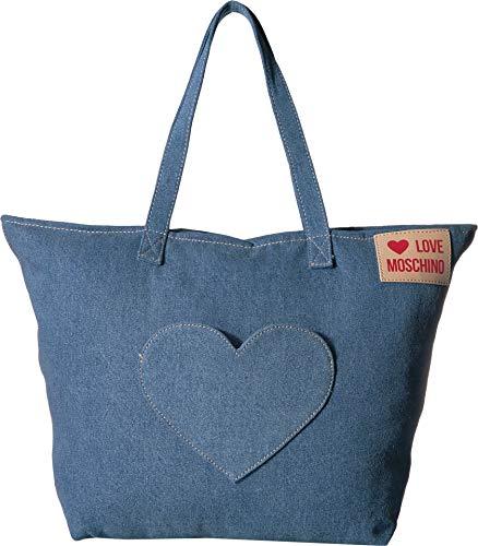 Love Moschino Borsa Denim, Women's Top-Handle Bag, Blue (Blu), 13x36x53 cm (W x H L)