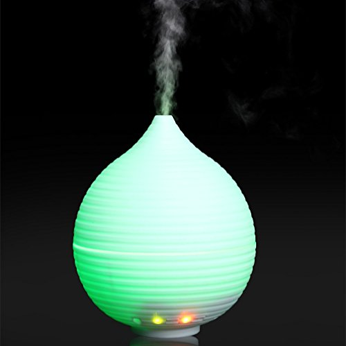 Mini Air Humidifier, USB Cool Mist Humidifier Portable USB Personal Ultrasonic Diffuser Quiet Crystal Mist Dispenser Aromatherapy Auto Shut-Off with LED Night Light for Home Car Office Travel (White) by BBoilin