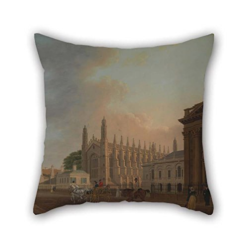 TonyLegner Oil Painting Thomas Malton The Younger - King's Parade, Cambridge Pillowcover 20 X 20 Inches / 50 by 50 cm Best Choice for Boys Bar Seat Indoor Club Kids Boys Boy Friend with 2 Sides -
