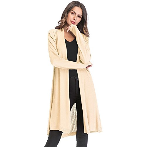 Makeupstore Women's Gradient Solid Long Cardigan Coat,Retro Autumn Thin Outwear Long Sleeve Blouse Jacket by Makeupstore