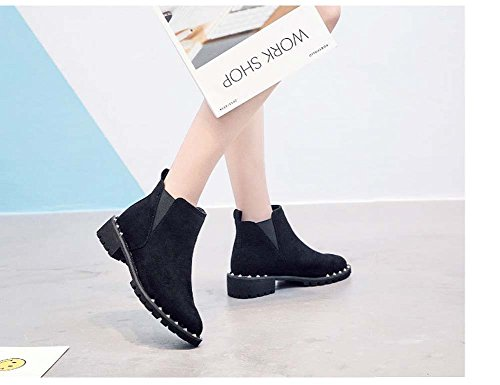 Thick Short Suede Style Casual Bootsuk3 Martin Snow Rivets Black Women's UK7 Female Retro With Boots Boots BnPzXH