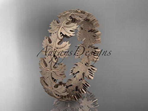 14kt rose gold diamond maple leaf and vine wedding ring, engagement ring,wedding band ADLR40B