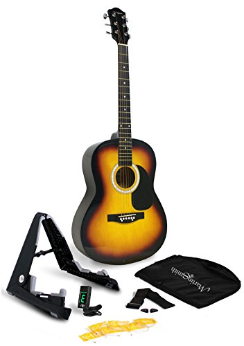 Martin Smith 6 String Acoustic Guitar SuperKit with Stand, Tuner, Gig Bag, Strap, Picks and Strings-Natural, Sunburst