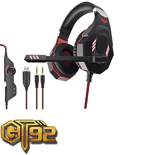 GT92 Gaming Headset Stereo Sports Headphones W/Mic LED Light for Laptop Computer Volume Control Gamer Headphones USB/3.5mm Wired Noise Cancelling Game Headband Earphone for PS4 /PC (Red)