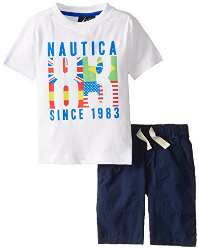Nautica Little Boys' 2 Piece Solid Bottom and Graphic Tee Shirt Set