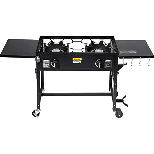 (Barton Outdoor Camping Propane Double Burner Stove 2 Folding Cook Cooking Station Stand Picnic BBQ Grill 58,000 BTU, Black)