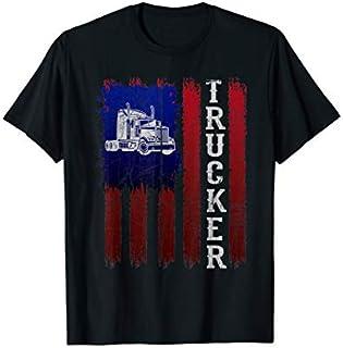 Retro Truck Driver Men Dad American Flag Trucker funny Gift T-shirt | Size S - 5XL