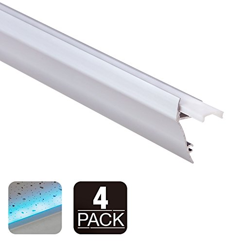 TORCHSTAR 3.3ft Wall Mount LED Aluminum Channel Profile for Led Strip Light, Frosted Diffuser, End Caps, Surface Mount, Baseboard, Ceiling Molding, Wall Wash, Pack of 4