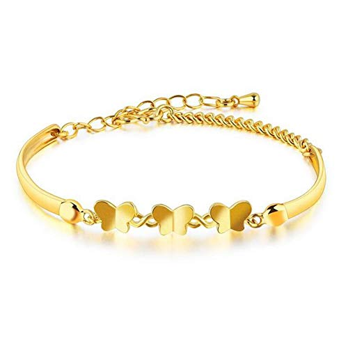 DX.OPK Women Bracelets Butterfly 18K Yellow Gold 18cm/7.1in Adjustable Bracelet Chain Thin Bangle Perfect Birthday Valentine's Day Wedding Jewelry Gifts