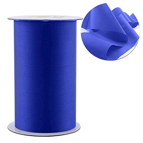 "4"" Wide Blue Satin Ribbon for Grand Opening Ceremonies/Ribbon Cutting, Weddings, Chair Sashes, Crafts (10-Yard Spool/30 Feet), Royal Blue Solid Color ()"