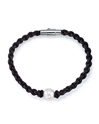 THE PEARL SOURCE 10-11mm Genuine White Freshwater Cultured Pearl & Braided Leather Sarah Bracelet for Women