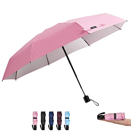 G4Free Compact Mini Travel Umbrella UV Protection Sun & Rain Folding Umbrella Windproof Lightweight Collapsible Umbrella for Men Women Kids(Pink)