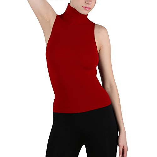 (Seamless Ribbed Sleeveless Mock Neck Turtleneck Shaping Tank Top Hot Tee (Red) )