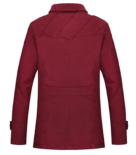 Giacca Uomini Classica Rosso Xinheo Outwear Giacca Vino A Fit Cardi Abbottonato Vento Silm zFdqw1O