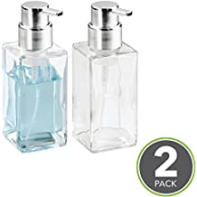 mDesign Foaming Soap Glass Dispenser Pump Bottle for Bathroom Vanities or Kitchen Sink, Countertops - Pack of 2, Square, Clear/Chrome