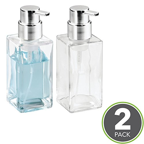 mDesign Foaming Soap Glass Dispenser Pump Bottle for Bathroom Vanities or Kitchen Sink, Countertops - Pack of 2, Square, Clear/Chrome (Soap Square Chrome Dispenser)