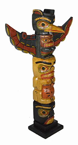 Clearance 20 Inch Tall Northwest Coast Style Eagle with Fish Wooden Totem Pole