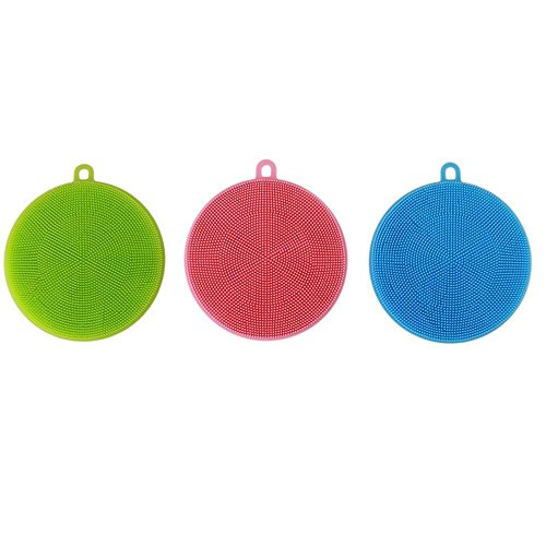 - Wewin Multi-fonction Magic Silicone Dish Bowl Cleaning Brushes Scouring Pad Pot Pan Wash Brushes Cleaner Kitchen Accessories (Set of 3)
