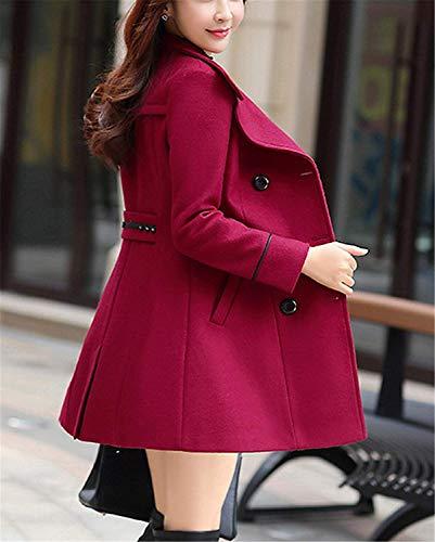 Young Long Hiver Styles Veste Longue Revers Outerwear Woll De Laine Grande Femme De Manches Rouge Transition Fit Manteau Elgante Manteau Unicolore Taille Manteau Automne Slim AwF70OOq