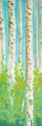 "Vibrant Birchwood I by Walt Johnson - 6"" x 20"" Giclee Canvas Art Print"