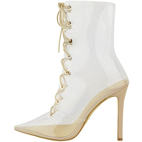Calf up Ankle Size Heels Perspex Womens Nude Stilettos Fashion Thirsty Lace Patent High Clear Boots xSvv4B