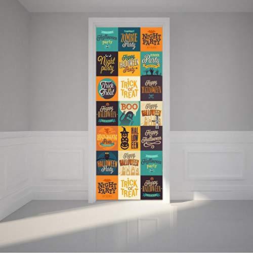 Rumas Art DIY Removable 3D Door Stickers Halloween Accessory - Waterproof Peel & Stick Wall Murals for Door Kids Room Bedroom Bathroom Kindergarten - Wall Decals Wall Stickers (B)