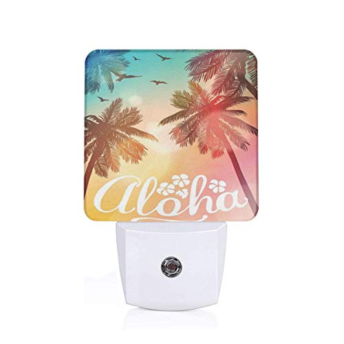 Colorful Plug in Night,Palm Trees with Birds On Colorful Bokeh Effect Background with Aloha Word Lettering,Auto Sensor LED Dusk to Dawn Night Light Plug in Indoor for Childs Adults