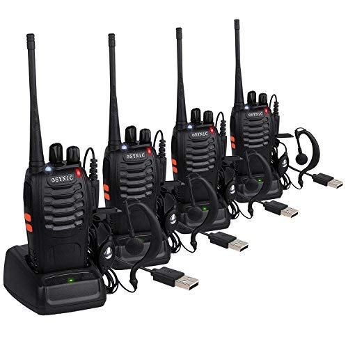 eSynic 4pcs Walkie Talkies-2 way radio Long Range Walkie Talkie with Original Earpieces- 2 Way Radio Walky Talky 16CH Single Band Supports VOX LED Light Voice Prompt for Biking and Hiking