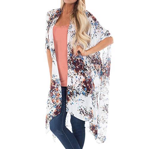 (Alangbudu Women Casual Floral Short Sleeve Chiffon Kimono Shawl Blouse Top Irregular Hem Cardigan Jacket Robe White)