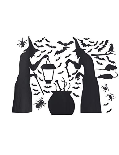 (Lankey Halloween Party Supplies Decorations Wall Decal Window Decor 2 Witches with Bats Spider Mouse &)