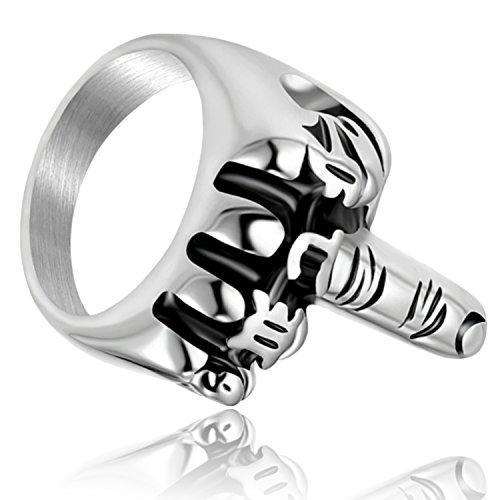 Denvosi Stainless Steel Ring Halloween Punk and Rock Middle Finger Biker Ring for Men Size - Halloween Biker