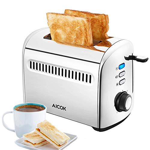 Toaster 2 Slice AICOK Extra-Wide Slots Stainless Steel Toasters with Bagel Defrost Cancel Function, 7 Toast Shade Level, Removable Crumb Tray, High Lift Level, 850W (Best Rated Toasters 2019)