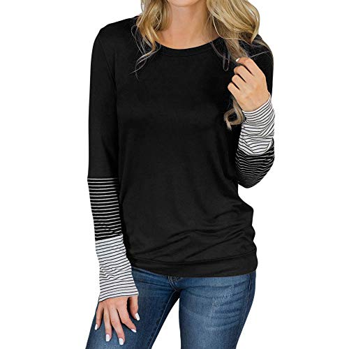 Hosamtel Fashion Womens T-Shirt Long Sleeve Patchwork Button Tie Pullover Ladies Casual Tops Sweatshirt Blouse Top Black