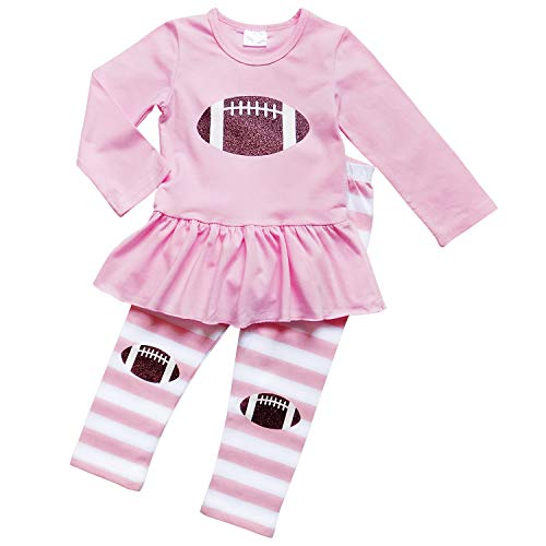 So Sydney Girls Pink & Brown Friday Night Football, 2 Pc Outfit (XS (2T), Knee Patch Pink)