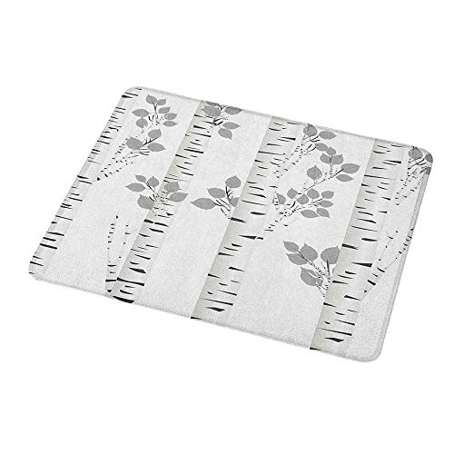 Custom Mouse Pad Gaming Mat Birch Tree,Artistic White Branches with Leaves Autumn Nature Forest Inspired Image Print,Grey White,Custom Design Gaming Mouse Pad 9.8