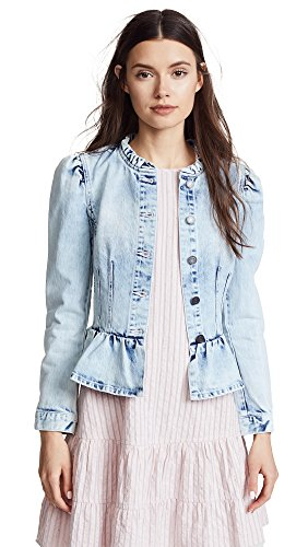 Rebecca Taylor Women's Denim Peplum Jacket, Nuage Wash, Large (Denim Jacket Taylor)