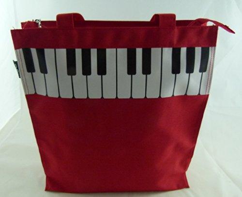 Maneggiare musica orientata Red Piano Key design Zipper Handbag Tote