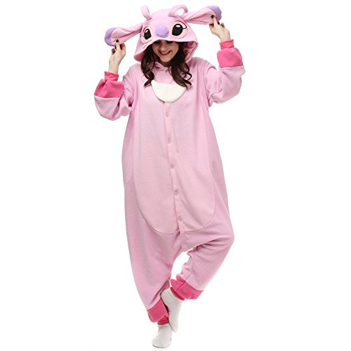 VU ROUL Halloween Costume Animal Stitch Onesie Adult Pajamas Small Pink -