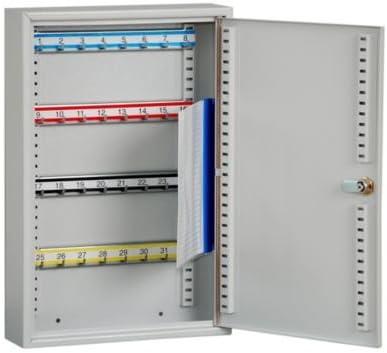 32 Haken Safe Schl/üsselaufbewahrsystem Schl/üsselaufbewahrung Schl/üsselkassette Schl/üsselkassetten Schl/üsselkasten Schl/üsselschrank Schl/üsseltresor Schrank QUIPO Schl/üsselschrank HxBxT 450 x 300 x 80 mm lichtgrau