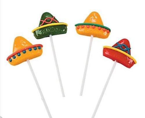 12 Mexican Fiesta Lollipops - Fiesta Suckers Sombrero Shape -Party Favors