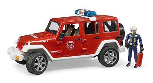 Bruder Jeep Rubicon Fire Rescue with Fireman Vehicle (Fire Bruder Toys Truck)